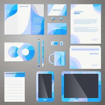 Company branding design template set with a modern blue pattern