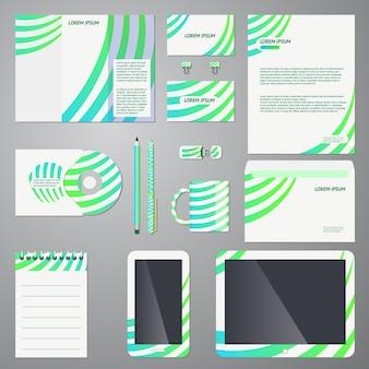 Modello di branding aziendale impostato in turchese, blu e verde