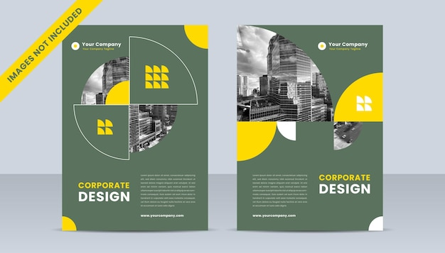 Company brochure cover concept with green and yellow color theme