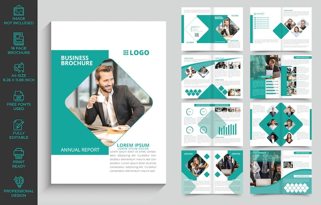 Company brochure design template with 16 pages fully editable and ready to print