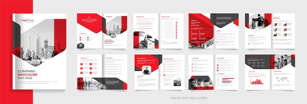 Company brochure design template with modern shapes vector