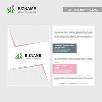 핑크 테마와 잎 로고 벡터와 회사 브로셔 디자인