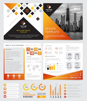 Company brochure design with progress symbols flat isolated vector illustration