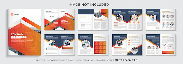 Company brochure template layout or multipage corporate brochure design with orange style