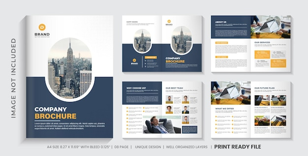 Company brochure template or multipage business brochure design templat