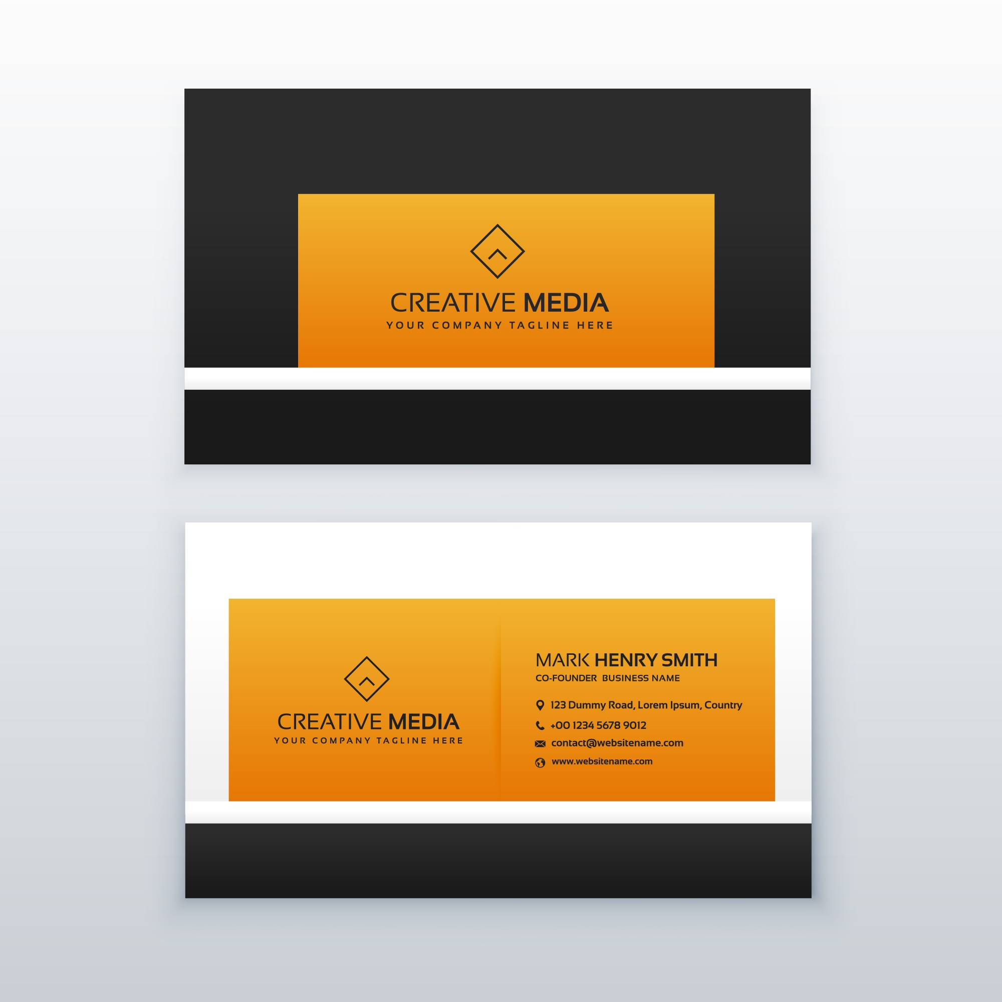 Company business card design in yellow and black