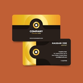 Company business card template golden foil