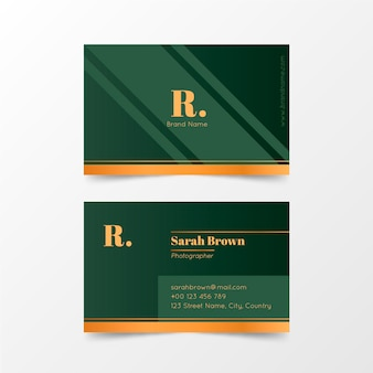 Company business card template golden logo