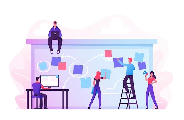 Бизнес-группа компании, работающая вместе, планирует и составляет график своих операций на big spring desk. мультфильм плоский иллюстрация