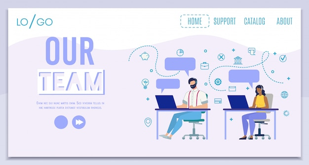 Company call center team flat landing page