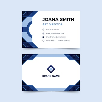 Company card template with abstract blue shapes