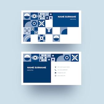 抽象的な古典的な青い図形デザインの会社カードテンプレート
