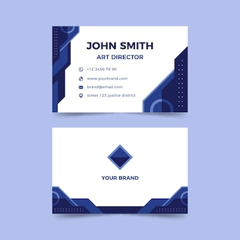 Company card template with abstract classic blue shapes