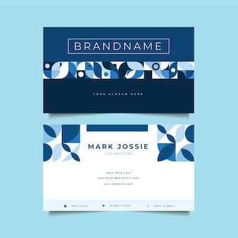 Company card template with blue shapes