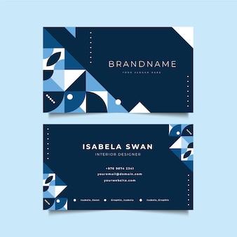 古典的な青い図形を持つ会社カードテンプレート