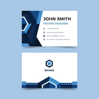 Company card with blue shapes