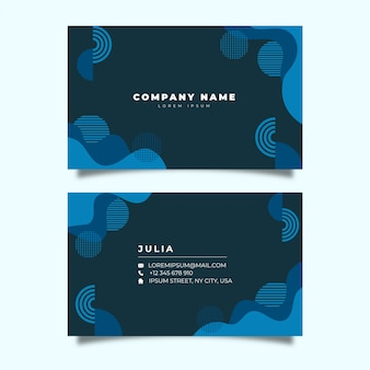 Company card with classic blue geometrical shapes