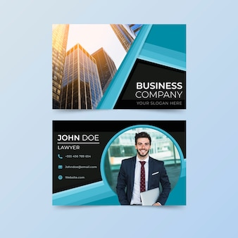 Company card with shapes and photos