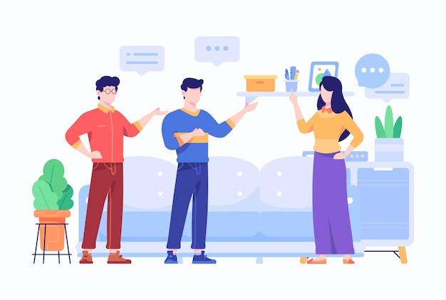 Коллеги компании стоят и имеют концепцию разговора в плоском стиле.