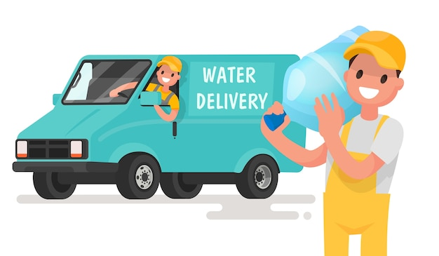 Company for the delivery of drinking clean water. a man with a bottle on the background of the van.