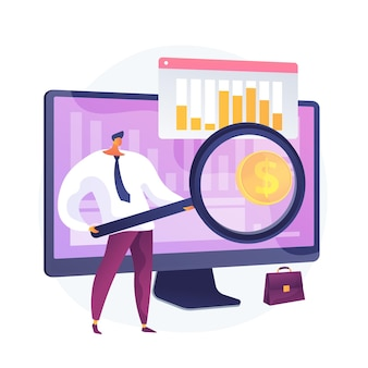 Company development statistics. financial analytics, investment revenue, growth rates. stock broker, investor analyzing profitable economy sectors. vector isolated concept metaphor illustration