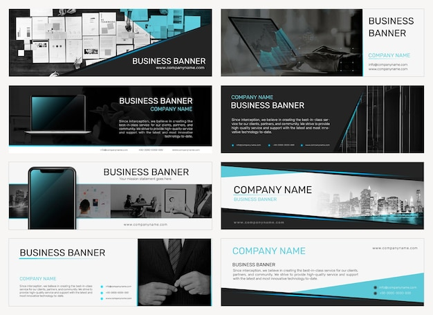 ビジネスセットの会社の電子メールヘッダーテンプレートベクトル