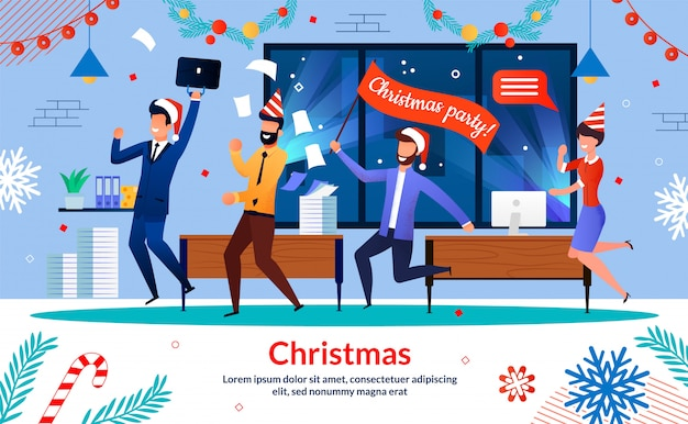 Company employees christmas party  banner