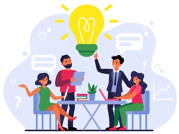 Company employees sharing thoughts and ideas Free Vector