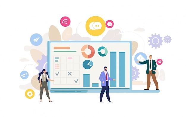 Company financial analysis flat vector concept