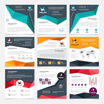 Company flyer templates set with mission and data symbols flat isolated vector illustration