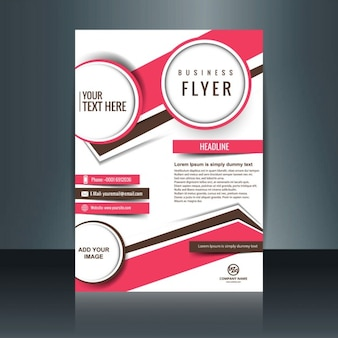 Company flyer with circles and abstract shapes in fuchsia color
