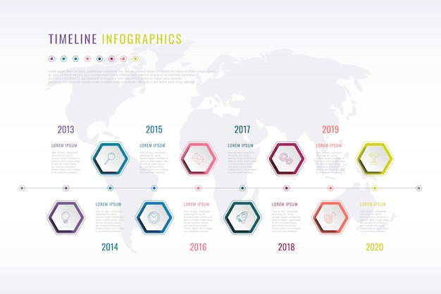 Company history infographic with hexagonal elements, year indication and world map on