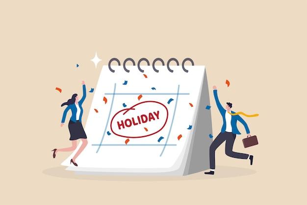 従業員が休憩して充電するための会社の休日、従業員の感謝の日または長い休日の幸福の概念、大きなカレンダーを持つビジネスマンは長い休日を祝うために喜びでジャンプします。