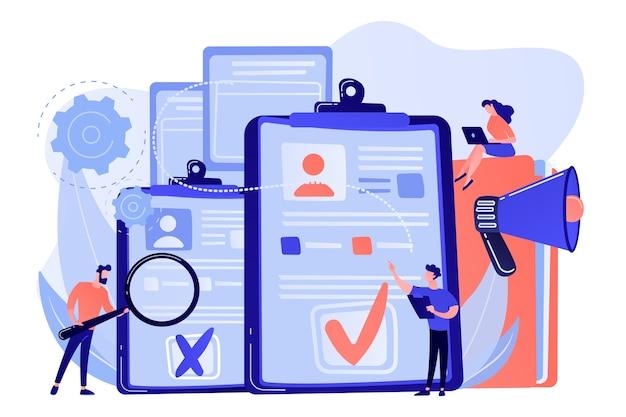 会社の人事マネージャーは、履歴書、拡大鏡、メガホンを使用して新しい従業員を雇用しています。従業員の採用、履歴書の記入、採用プロセスの概念図
