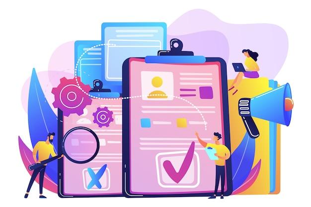 Менеджеры по персоналу компании нанимают нового сотрудника с помощью резюме, лупы и мегафона. наем сотрудника, заполнение резюме, концепция процесса найма.