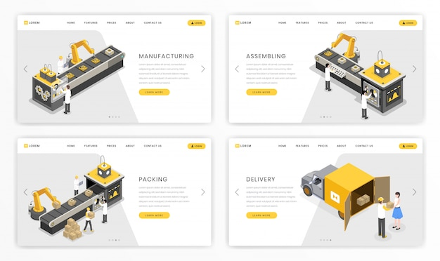 Company industrial process landing page template. factory stages of product assembly and transportation