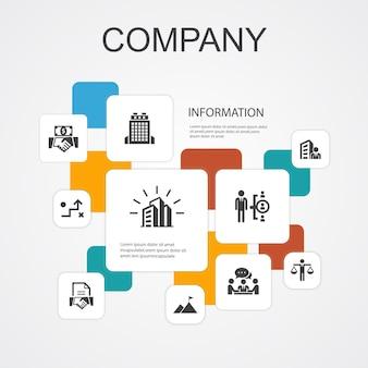 Шаблон иконы 10 линии infographic компании. офис, инвестиции, встреча, контракт простые иконки