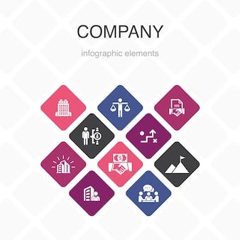 Компания инфографика 10 вариантов цветового оформления. офис, инвестиции, встреча, контракт простые иконки