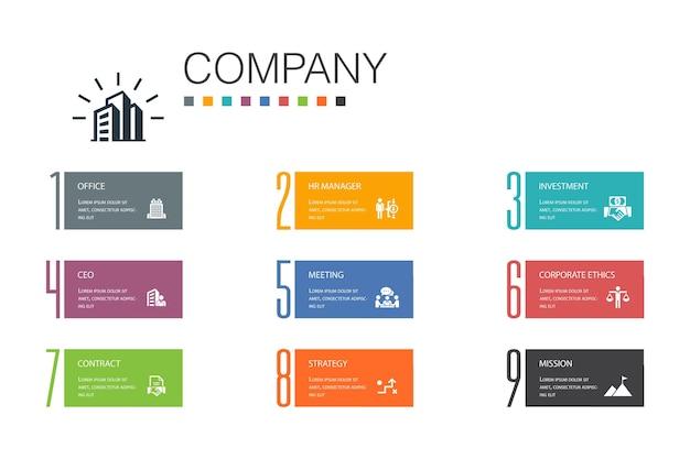 Концепция линии инфографики 10 вариантов. офис, инвестиции, встреча, контракт простые значки