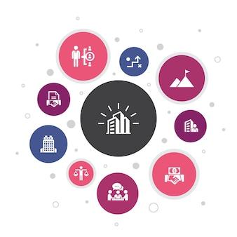 Компания инфографики 10 шагов пузырь дизайн. офис, инвестиции, встреча, контракт простые значки