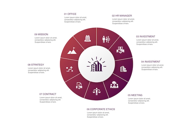 Компания инфографика 10 шагов круговой дизайн. офис, инвестиции, встреча, контракт простые иконки