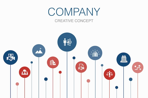 Company infographic 10 steps template. office, investment, meeting, contract simple icons