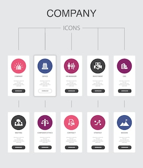 Инфографика компании 10 шагов ui-дизайна. офис, инвестиции, встреча, контракт простые иконки