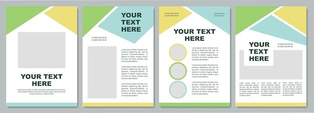 会社紹介パンフレットテンプレート。チラシ、小冊子、リーフレットプリント、コピースペース付きカバーデザイン。ここにあなたのテキスト。雑誌、年次報告書、広告ポスターのベクトルレイアウト