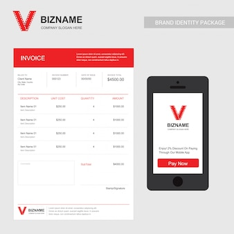 Company invoice design with video logo and stationary items
