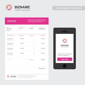 Счёт компании с уникальным элегантным векторным дизайном