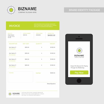 Company invoice with logo and creative design