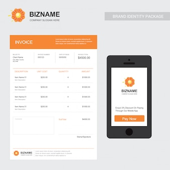 Company invoice with mobile app design with flower logo
