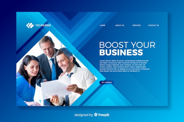 Company landing page with photo