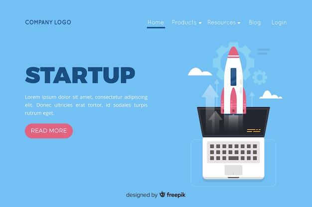 Целевая страница компании с ракетой